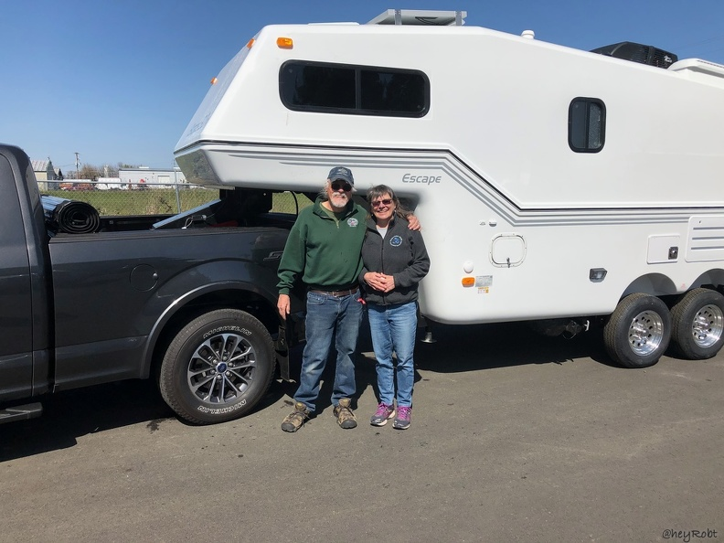 All hooked up! Rover meets Bud — we name our vehicles and RVs.  The trailer is Bud, as in Rover's bud — Rover is the truck. We are now happy campers!